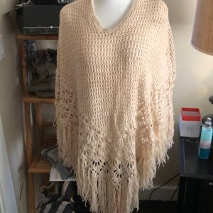 Crochet poncho- very delicate knit in camel color